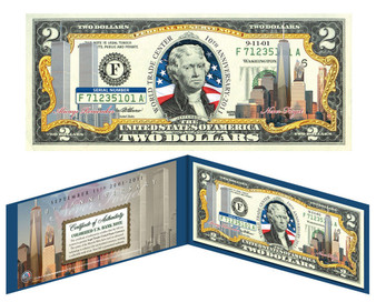 10th Anniversary 9/11 WTC & Freedom Tower Colorized Commemorative $2 Bill