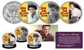 Elvis Presley Love Me Tender Songs JFK Half Dollar 3 Coin Set - Color