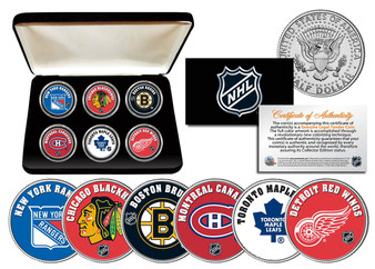 NHL Original Six JFK Half Dollar Set with Case
