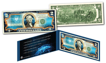 Cryptocurrency Block Chain Physical Commemorative Colorized $2 Bill