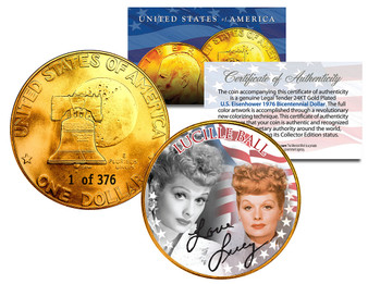 I Love Lucy 24K Gold Plated Serialized Ike Dollar