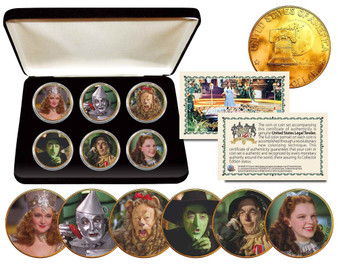The Wizard of Oz 6 Coin Eisenhower Dollar Set with Case
