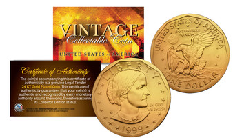 24K Gold Plated  Susan B. Anthony $1 Coin