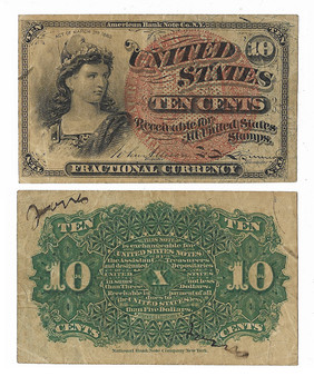 Civil War Era Fractional Currency 1863 10 Cent Note - B