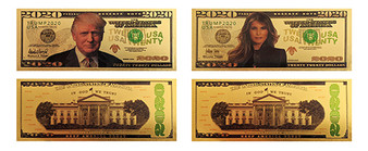 Both 1st Couple Donald & Melania Trump 2020 24K Gold Plated 2020 Novelty Bills