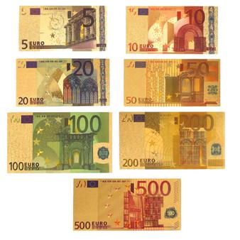 Set of 7 24K Gold Foil Euro Novelty Bills 5, 10, 20, 50, 100, 200 & 500 Euro 2-Sided Notes