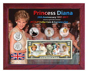 "Princess Diana 20th Anniversary Colorized Coin & Currency Set in 8"" x 10"" Frame"