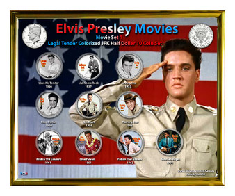"Elvis Movies Set 1 Colorized JFK Half Dollar 10 Coin Set in 8"" x 10"" Frame"