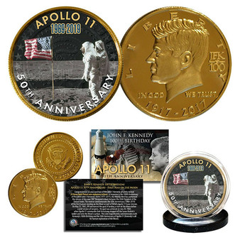 Apollo 11 Man on Moon 50th Anniversary JFK Centennial Tribute 24K Gold Plated Coin 2 Flag