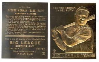 Babe Ruth #53 Big League Chewing Gum 23K Gold Sculptured Card