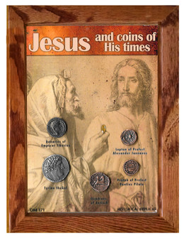 """Jesus and Coins of His Times Historical Replica Set in 5"""" x 7"""" Frame"""