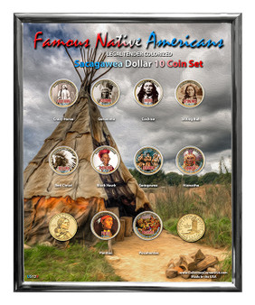 "Famous Native American Colorized Sacagawea Dollar 10 Coin Set in 8"" x 10"" Frame Portrait Design"