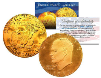 24K Gold Plated Eisenhower Dollar with COA & Air-Tite