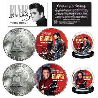 Elvis Presley 1968 Comeback Special 1976 Bicentennial Eisenhower Dollar 2 Coin Set