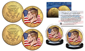2018 Waving Flag Gold Set of 2 24K Gold Plated & Colorized JFK Half Dollars Includes Both P&D Mints