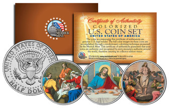 Jesus Colorized JFK Half Dollar 3 Coin Set
