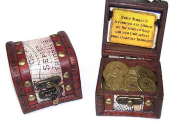 Kids Pirates Treasure Chest filled with Ancient Chinese Coins