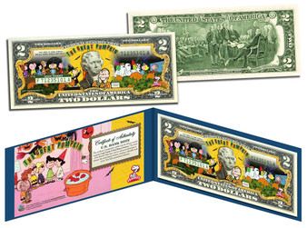 Peanuts Halloween The Great Pumpkin Colorized $2 Bill