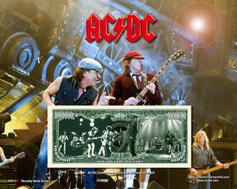"""AC/DC"" Novelty Million Dollar Bill Reverse Display on an 8"" x 10"" Display Card"
