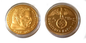 Hindenburg German 5 Mark 1938 Nazi Replica Coin