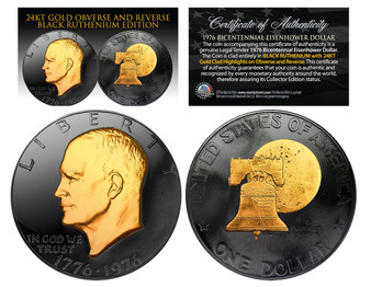 Black Ruthenium Clad 24K Gold Plated 1976 Bicentennial Eisenhower Dollar