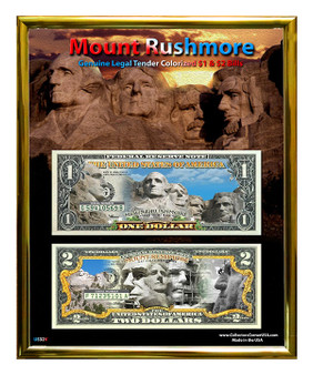 "Mount Rushmore Commemorative Colorized Currency Set in 8"" x 10"" Frame"