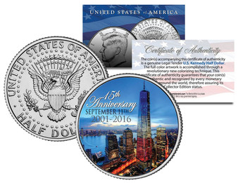 2016 World Trade Center 9/11 15th Anniversary Colorized JFK Half Dollar