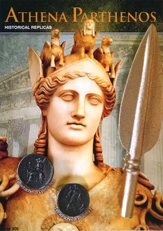"Athena Parthenos - Replica Spear Head & 2 Coin Set on a 5"" x 7"" Display Card"