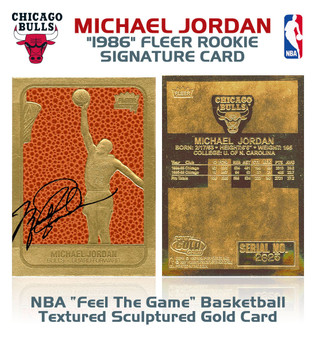1986 Michael Jordan Feel The Game Signature 23K Gold Sculptured Card
