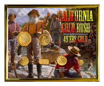 "California Gold Rush 49ers Gold 24K Gold Plated Historical Replica Set in 8"" x 10"" Frame - H"