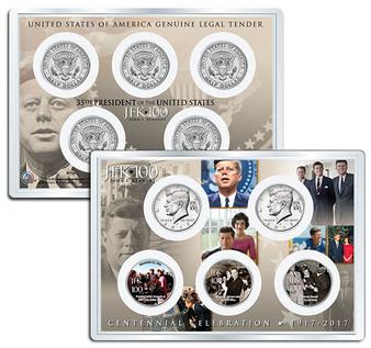 "JFK100 John F. Kennedy Centennial 2017 ""Assassination"" JFK Half Dollar 5 Coin Set in 4x6 Lens Display"
