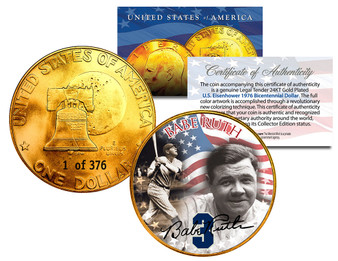 Babe Ruth Serialized 24K Gold Plated Ike Dollar