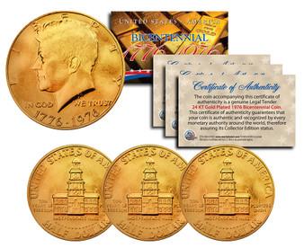 Set of 3 24K Gold Plated Bicentennial 1976 JFK Half Dollars