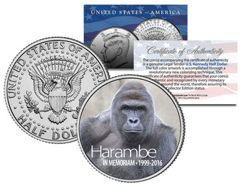 "Harambe ""In Memoriam"" 1999-2016 Cincinnati Zoo Gorilla JFK Half Dollar"