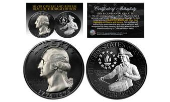 Black Ruthenium 1976 Bicentennial Quarter with Genuine Silver Highlights