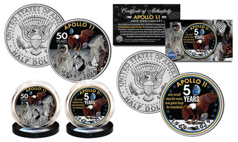 APOLLO 11 50th Anniversary Man on Moon Colorized JFK Half Dollar 2 Coin Set