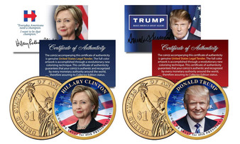 Trump/Hillary for President 2 Coin Set Colorized 2016 Presidential Dollars