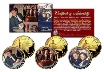 JFK 50th Inauguration 24K Gold Plated & Colorized 3 Coin State Quarter Set