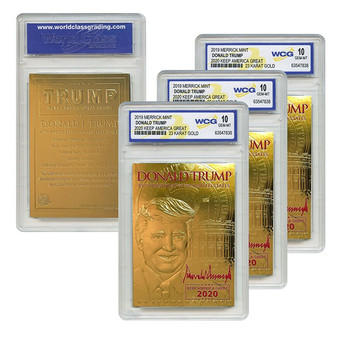 DONALD TRUMP 45th President 23K GOLD Sculpted Card Red SIGNATURE '20 GEM-MINT 10 - Lot of 3