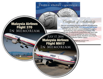 Malaysia Airlines Flight 370 and MH17 In Memoriam Colorized JFK Half Dollar