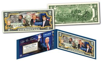 Donald Trump Presidential Life & Times Colorized $2 Bill