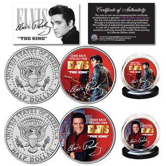 Elvis Presley 1968 Comeback Special JFK Half Dollar 2 Coin Set