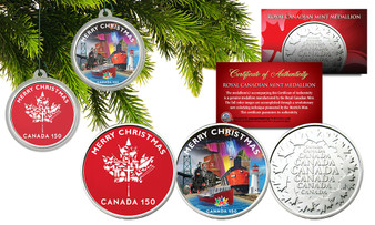 Christmas Canada 150 Set of 2 Colorized Canadian RCM Medallions in Christmas Tree Ornament Capsules