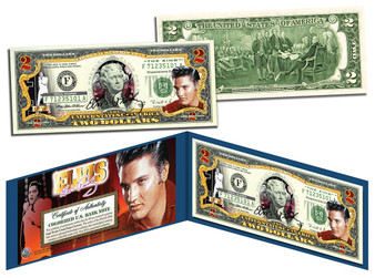 Elvis Presley Commemorative Colorized $2 Bill