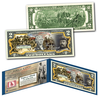 ROUGH RIDERS Teddy Roosevelt Army Spanish War Colorized $2 Bill