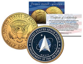 Military Emblem Space Force Colorized & 24K Gold Plated JFK Half Dollar