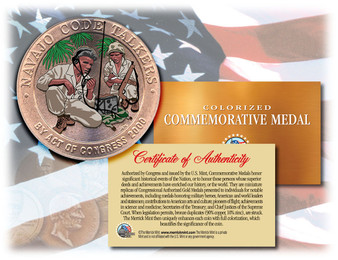 Colorized Navajo Code Talkers Bronze Coin