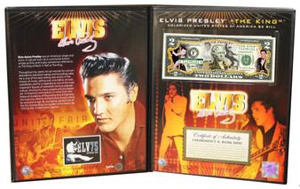 Elvis Presley Deluxe Edition Folio Commemorative Colorized $2 Bill