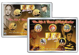 The Life and Times of Elvis Presley State Quarter 5 Coin Set in Acrylic Case
