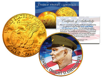 General Dwight D. Eisenhower Colorized & Gold Ike Dollar